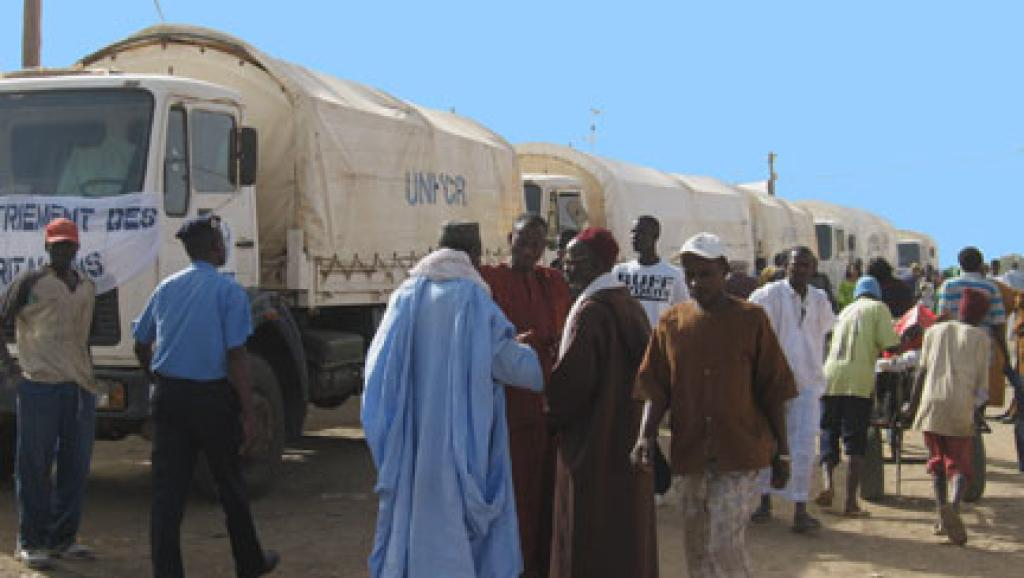 L'un des camions mobilisés dans le retour des réfugiés au bercail