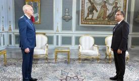 الرئيس التونسي قيس سعيّد خلال استقباله المشيشي