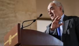 المبعوث الأممي لليبيا غسان سلامة في مقر المباحثات في جنيف أول أمس الثلاثاء