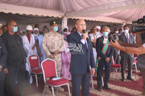 الرئيس محمد ولد الشيخ الغزواني  في زويرات ـ (المصدر: الصحراء)