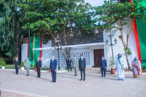 الرئيس غزواني في حفل رفع العلم صباح اليوم ـ (المصدر: وما)