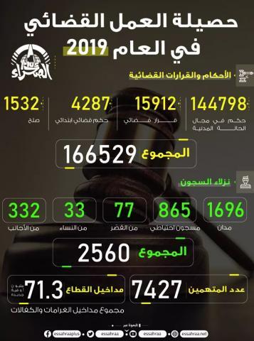 حصيلة العمل القضائي 2019 (المصدر: الصحراء)