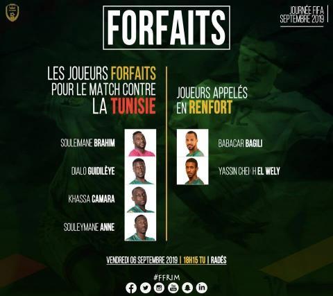 قائمة اللاعبين الأربعة الغائبين مع لاعبين اثنين تم استدعاؤهم لملء الفراغ