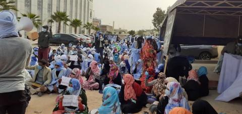 وقفة ااحتجاجية لمقدمي خدمة التعليم أمام وزارة التهذيب ـ (المصدر: الإنترنت)