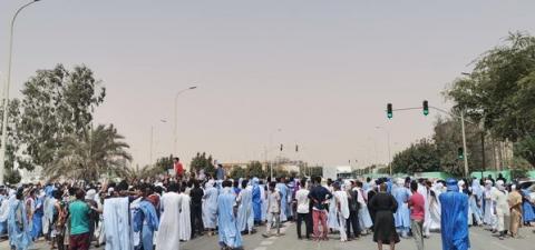 جانب من المسيرة كما تداوله نشطاء على شبكات التواصل الاجتماعي