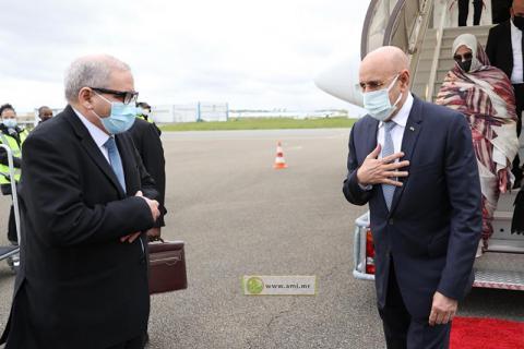 الرئيس غزواني لدى وصوله باريس- المصدر (وما)