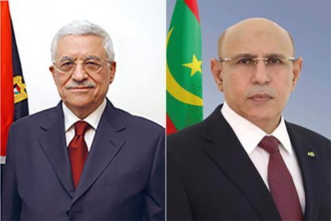 الرئيسان الموريتاني والفلسطيني (ارشيف انترنت)