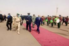 الرئيس غزواني لدى مغادرته مطار النعمة ـ (المصدر: وما)