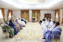 الرئيس غزواني خلال استقباله لنواب الحوض الشرقي- المصدر (وما)