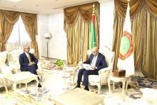 الوفد الصحراوي خلال اجتماعه بالرئيس غزواني (تصوير و م أ)