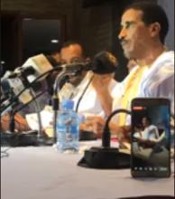 المرشح محمد ولد مولود خلال حديثه في المؤتمر الصحفي