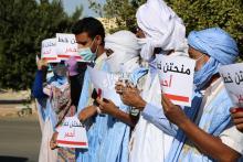الطلاب الممنوحون للمغرب يتظاهرون أمام وزارة التعليم العالي ـ (المصدر: الصحراء)