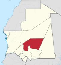 ولاية تكانت بلون بارز على خريطة موريتانيا (ارشيف - انترنت)