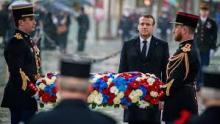 الرئيس إيمانويل ماكرون خلال حفل 8 مايو 2019 عند قوس النصر في باريس © أ ف ب / أرشيف