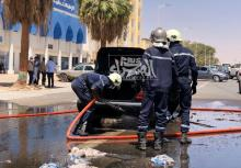كامرا الصحراء توثق الجهود الختامية لفرقة الحماية المدنية بعد سيطرتها على الحريق