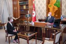 الرئيس التونسي مع رئيسة الحكومة المكلفة ـ (المصدر: الجزيرة نت)